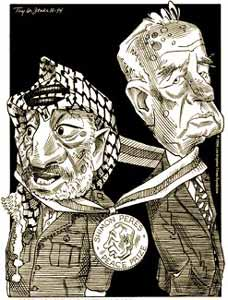 """The Peace of the brave"" Arafat said he and Yitzhak Rabin had entered into"