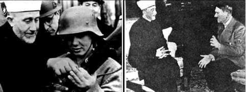 Husseini and German soldiers and with Hitler